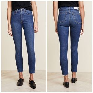 NEW | RE/DONE High Rise Ankle Crop Jeans Dark Wash